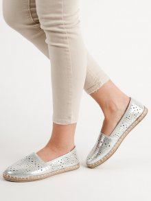 Krásné dámské  baleríny šedo-stříbrné bez podpatku