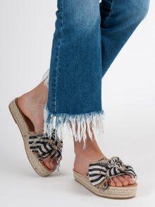 Moderní modré  nazouváky dámské bez podpatku