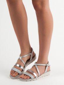 Pěkné šedo-stříbrné  sandály dámské