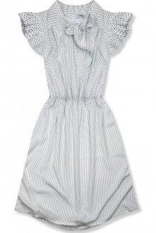 Bílé retro puntíkované šaty s mašlí