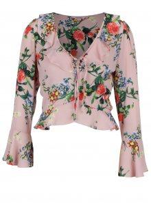 Světle růžová květovaná halenka se zvonovými rukávem Miss Selfridge