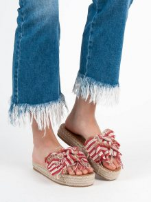 Designové červené dámské  nazouváky bez podpatku
