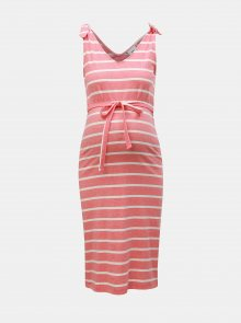 Růžové těhotenské pruhované šaty Mama.licious Annetta