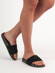 Trendy černé dámské  nazouváky bez podpatku