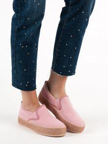 Moderní  tenisky dámské růžové bez podpatku