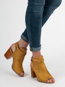 Trendy  sandály dámské zlaté na širokém podpatku