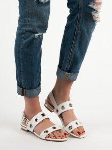 Praktické bílé  sandály dámské bez podpatku