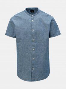 Modrá žíhaná slim fit košile s příměsí lnu Selected Homme
