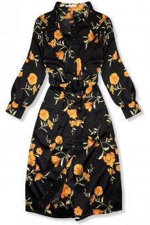 Černé košilové midi šaty