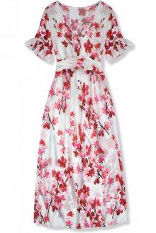 Bílé maxi šaty s květinami Mindy