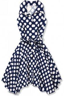 Modro-bílé retro puntíkované šaty