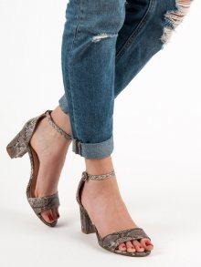 Pěkné dámské se zvířecím motivem  sandály na širokém podpatku