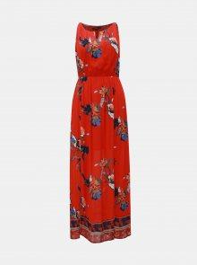 Červené květované maxišaty s průstřihem v dekoltu VERO MODA Olina