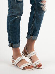 Luxusní  sandály dámské bílé bez podpatku