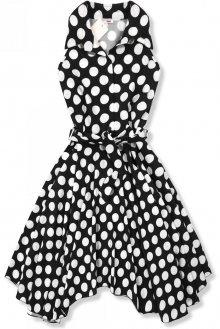 Černo-bílé retro puntíkované šaty