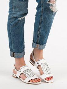 Designové bílé  sandály dámské na plochém podpatku