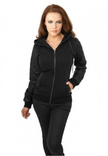 Urban Classics Ladies Diamond Leather Imitation Sleeve Zip Hoody blk/blk - S
