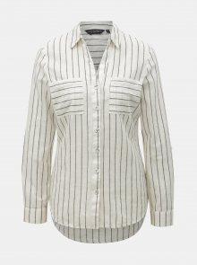 Šedo-krémová pruhovaná košile s příměsí lnu Dorothy Perkins