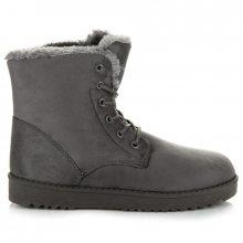 Teplé šedé kotníkové boty s kožešinkou