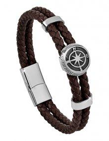 Troli Tmavě hnědý kožený náramek s kompasovou růžicí