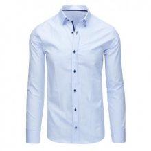Světle modrá pánská košile kostkovaná s dlouhým rukávem