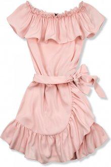 Světle růžové volánové šaty Olivia/O'la Voga