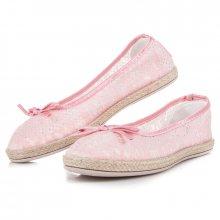 Módní růžové krajkové baleríny