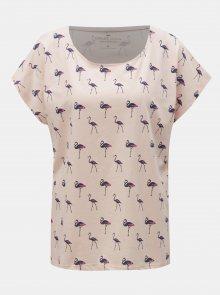 Růžové dámské tričko s potiskem Cross Jeans