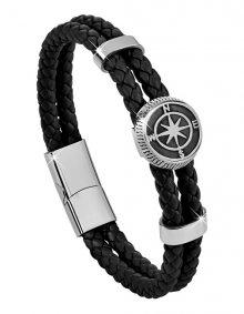 Troli Černý kožený náramek s kompasovou růžicí