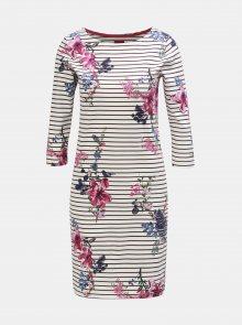 Fialovo-bílé dámské květované pruhované šaty s 3/4 rukávem Tom Joule