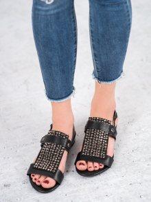 Luxusní  sandály dámské černé na plochém podpatku