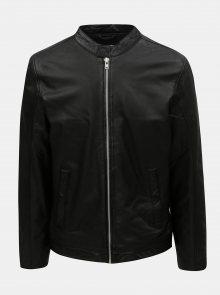 Černá kožená bunda na zip Lindbergh