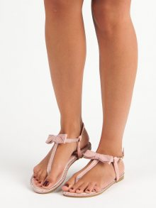 Růžové sandály-žabky s mašličkou