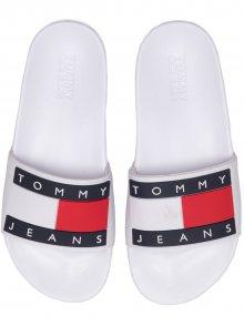 Tommy Hilfiger bílé unisex pantofle Tommy Jeans Flag Pool Slide White - 36