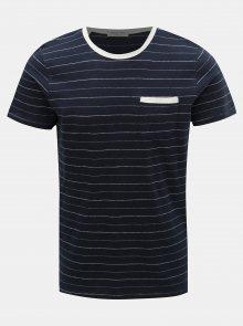 Tmavě modré pruhované tričko s příměsí lnu Selected Homme Francis