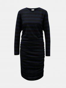 Černo-modré pruhované šaty s řasením na bocích Jacqueline de Yong Rosa