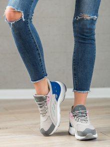 Stylové šedo-stříbrné dámské  tenisky bez podpatku