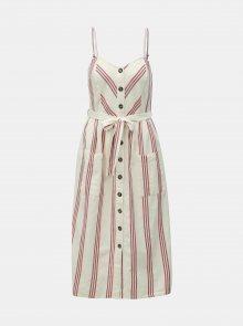 Krémové pruhované šaty s příměsí lnu Miss Selfridge