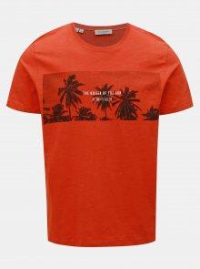 Oranžové tričko s potiskem Selected Homme Viktor