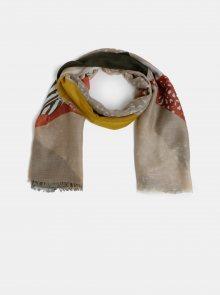 Béžový vzorovaný šátek Pieces Erle