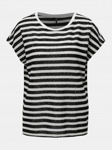 Černo-bílé pruhované tričko s flitry ONLY