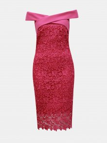 Tmavě růžové krajkové pouzdrové šaty s odhalenými rameny Paper Dolls