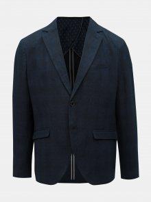 Tmavě modré kostkované sako s příměsí lnu Selected Homme