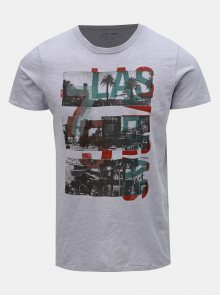 Světle fialové slim fit tričko s potiskem Jack & Jones Dylan
