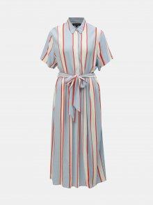 Bílo-modré košilové pruhované midišaty Selected Femme Frory