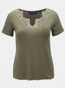 Khaki žebrované tričko s krajkou Dorothy Perkins Curve