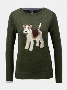 Tmavě zelený dámský svetr s motivem psa Tom Joule Miranda