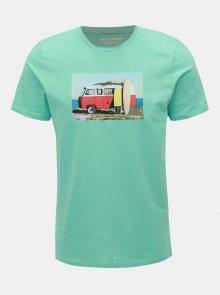 Tyrkysové tričko s potiskem Jack & Jones Hotel