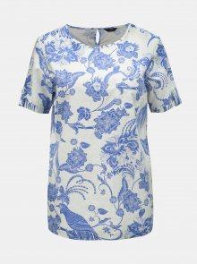 Modro-bílá lněná květovaná halenka M&Co