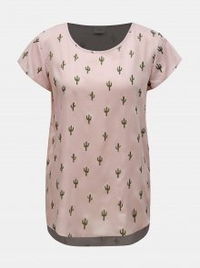 Růžové vzorované tričko Jacqueline de Yong Marli